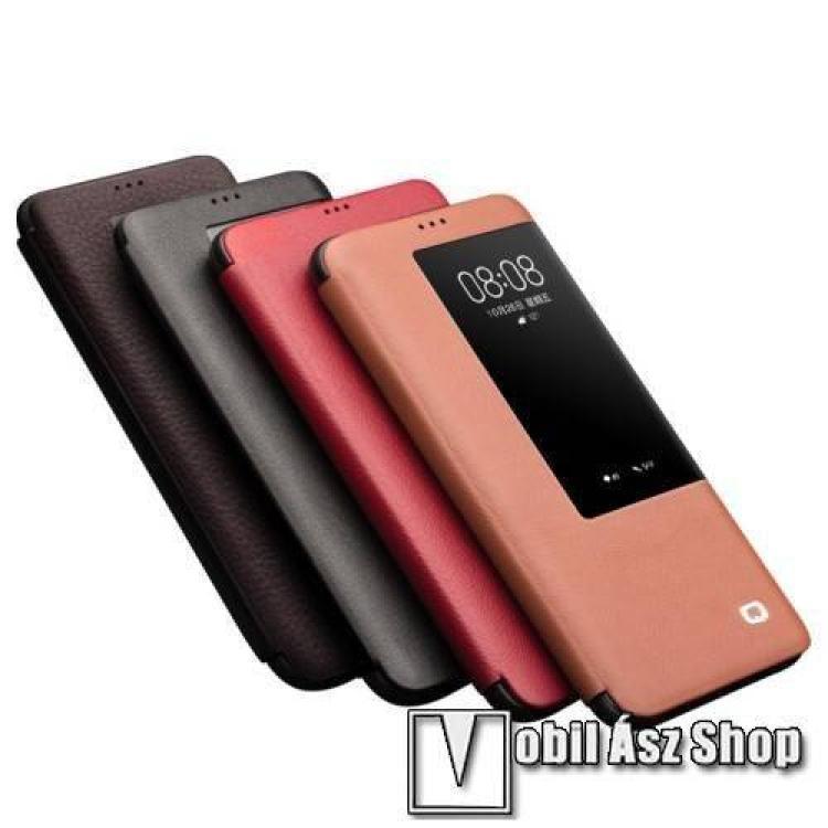 QIALINO notesz / flip tok - FEKETE - valódi bőr, oldalra nyíló ablakos flip cover - HUAWEI Mate 20 Pro - GYÁRI