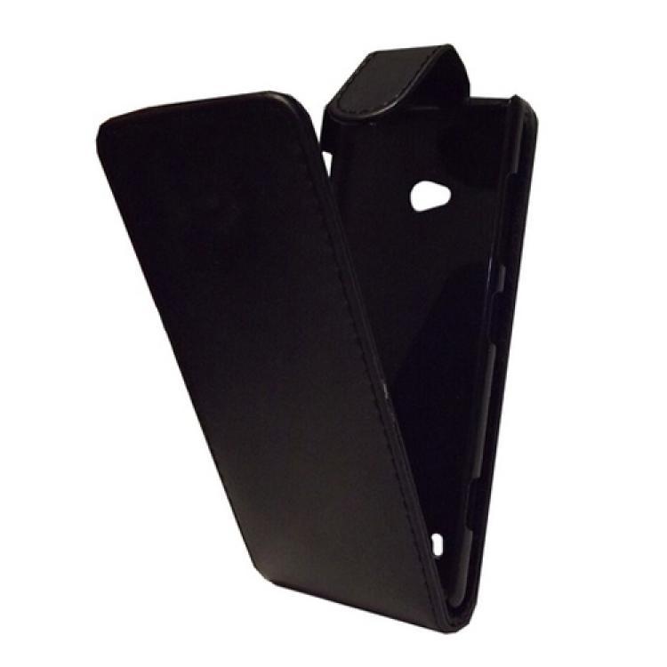 NOKIA Lumia 720Flip tok - álló, bőr, rejtett mágneses záródás - FEKETE - NOKIA Lumia 720