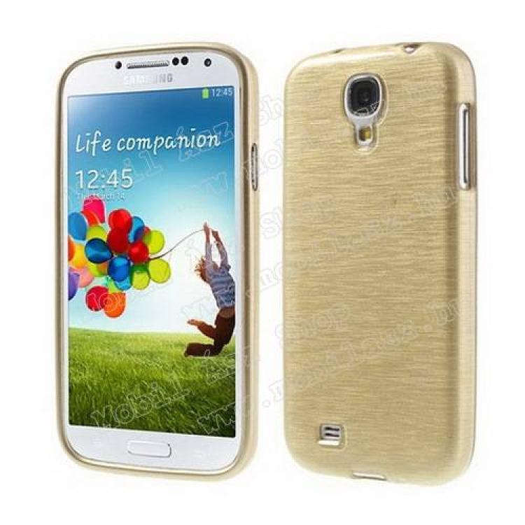 SAMSUNG Galaxy S IV. VE (GT-I9515)Szilikon védő tok  hátlap - szálcsiszolt hatású - ARANY - SAMSUNG GT-I9500  I9502  I9505  I9506 Galaxy S IV.