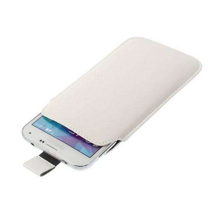 Leagoo Z7Tok álló, bőr - kihúzó pánt, Samsung Galaxy S5 G900 méret - FEHÉR
