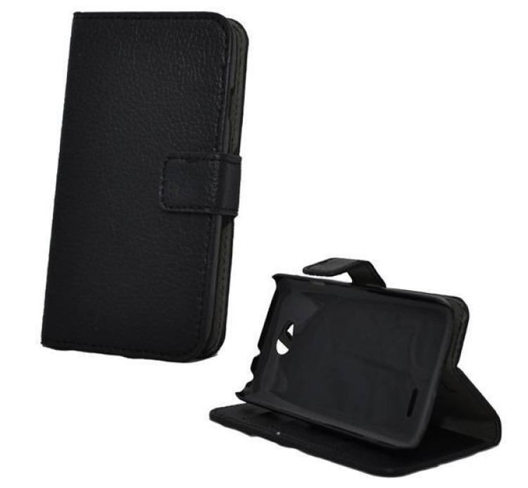 LG D280 L65Notesz tok flip tok - asztali tartó funkciós, oldalra nyíló, rejtett mágneses záródás, bankkártya tartó zsebekkel - FEKETE - LG L70