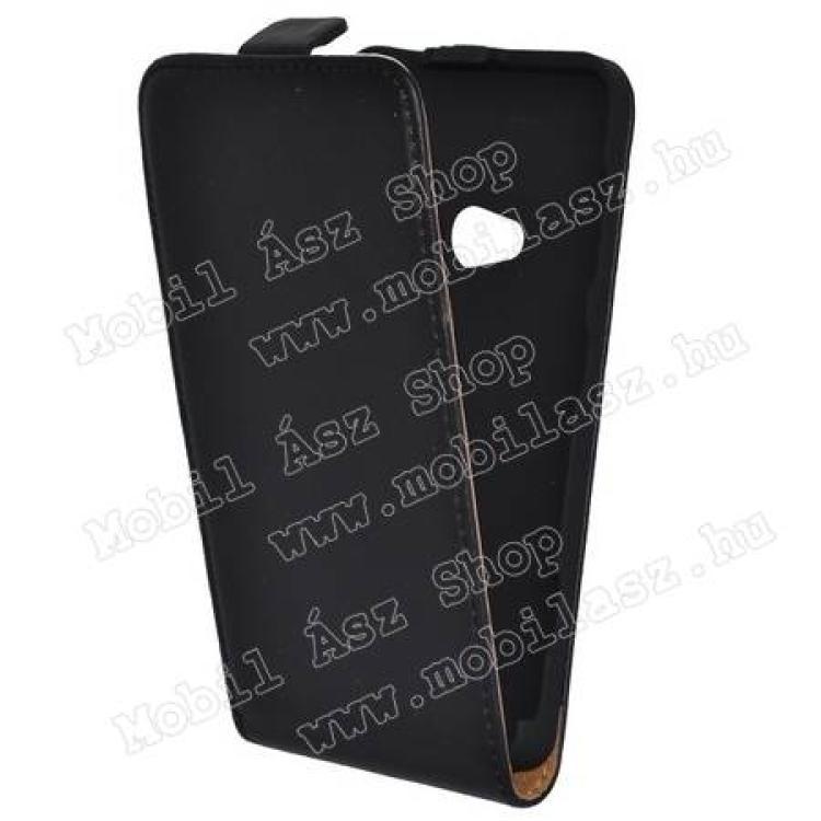 NOKIA Lumia 625Flip bőrtok - lefelé nyíló, rejtett megnáses záródás - FEKETE - NOKIA Lumia 625