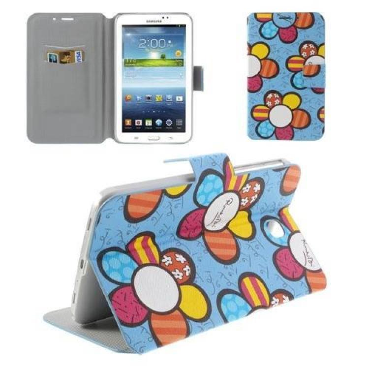 SAMSUNG Galaxy Tab 3 Kids 7.0 (SM-T2105)Notesz  mappa tok - virágmintás - oldalra nyíló flip cover, mágneses, bankkártya tartó, asztali tartó funkciós - KÉK - SAMSUNG P3200 Galaxy Tab 3 7.0 SM-T211  SAMSUNG P3210 Galaxy Tab 3 7.0 SM-T210