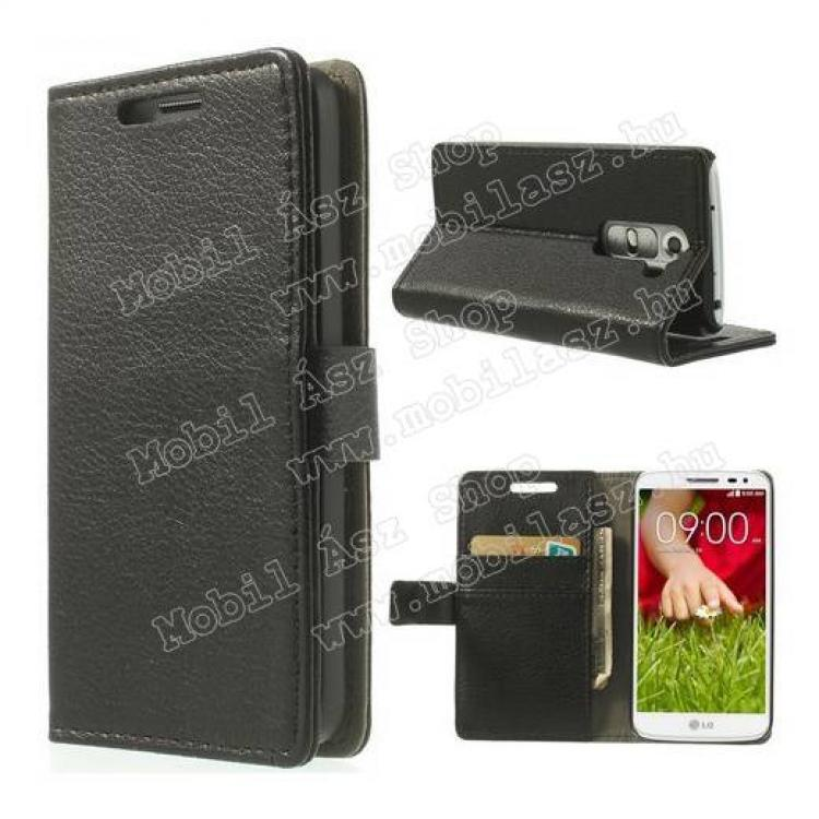 LG D620 G2 mini LTENotesz tok  flip tok - asztali tartó funkciós, oldalra nyíló, rejtett mágneses záródás, bankkártya tartó zsebekkel - FEKETE - LG G2 mini  LG D620 G2 mini LTE