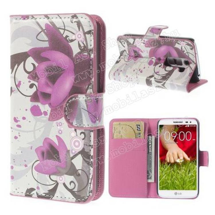 LG D620 G2 mini LTENotesz tok flip tok - LÓTUSZVIRÁG MINTÁS - asztali tartó funkciós, oldalra nyíló, rejtett mágneses záródás, bankkártya tartó zsebekkel - LG G2 mini  LG D620 G2 mini LTE