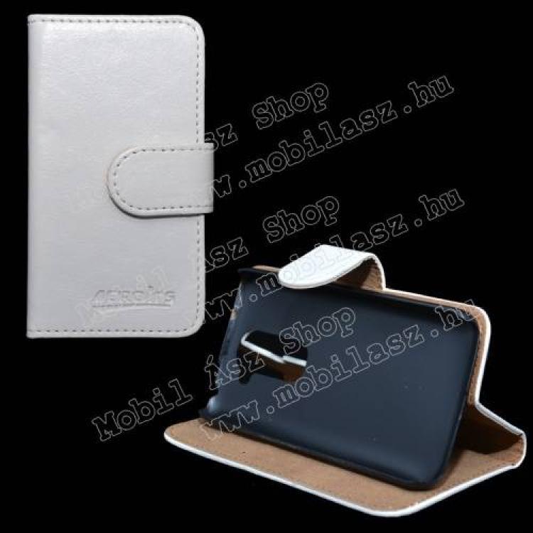 LG D620 G2 mini LTENotesz tok flip tok - asztali tartó funkciós, oldalra nyíló, rejtett mágneses záródás, bankkártya tartó zsebekkel - FEHÉR - LG G2 mini  LG D620 G2 mini LTE