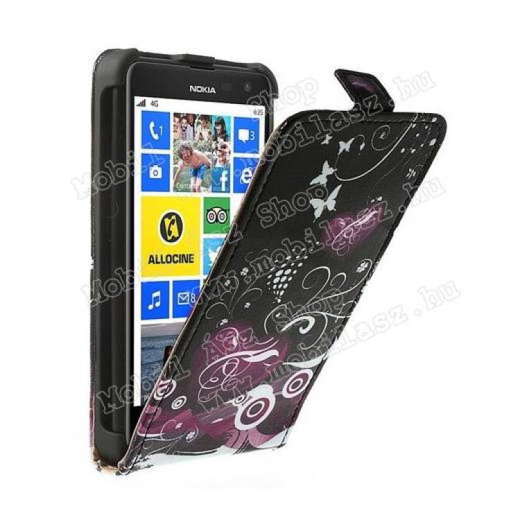 NOKIA Lumia 625SLIM flip tok - SZÍV  VIRÁG MINTÁS - lefelé nyíló, rejtett mágneses záródás - FEKETE  LILA - NOKIA Lumia 625