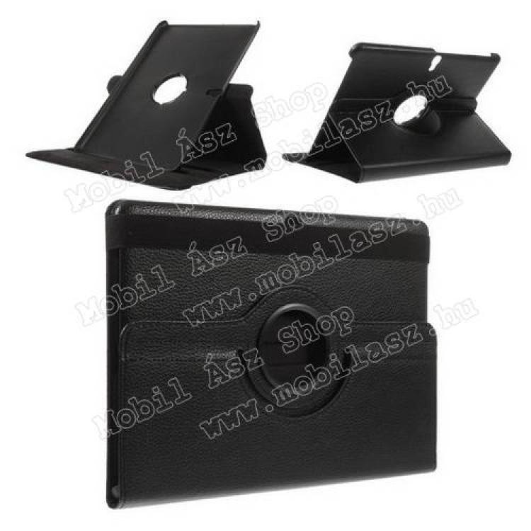 SAMSUNG Galaxy Tab S 10.5 (SM-T805)Tok álló, bőr, Flip - asztali tartó funkciós, 360°-ban forgatható, gumis záródás - FEKETE - SAMSUNG SM-T800 Galaxy Tab S 10.5  SAMSUNG SM-T805 Galaxy Tab S 10.5