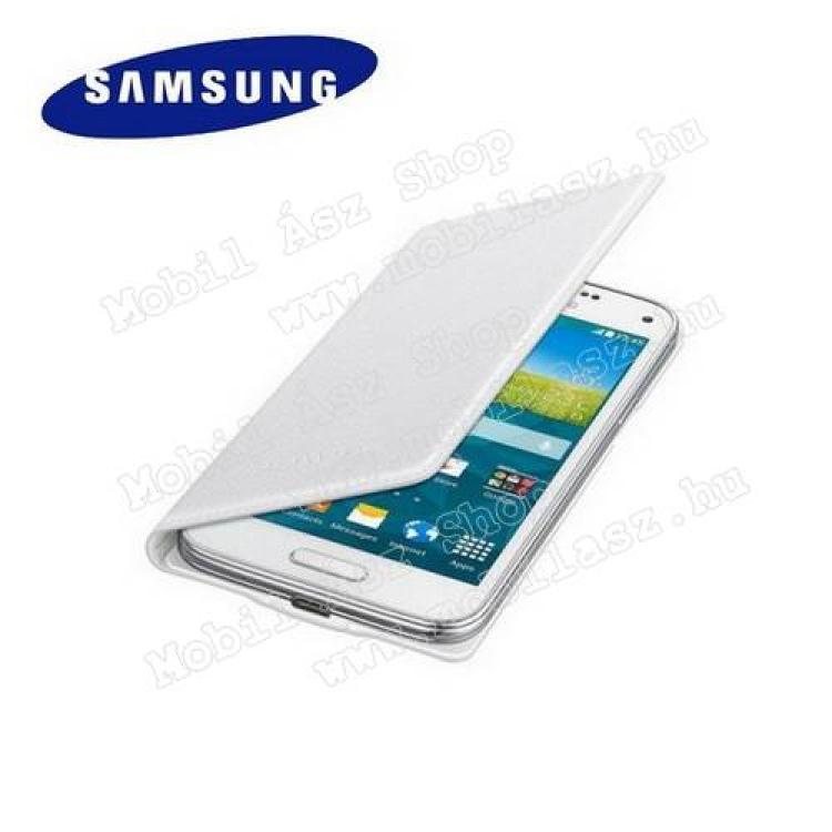 SAMSUNG Galaxy S5 mini (SM-G800)SAMSUNG EF-FG800BHEG akkufedél - oldalra nyíló flip cover, NFC - FEHÉR - SAMSUNG SM-G800 Galaxy S5 mini - GYÁRI
