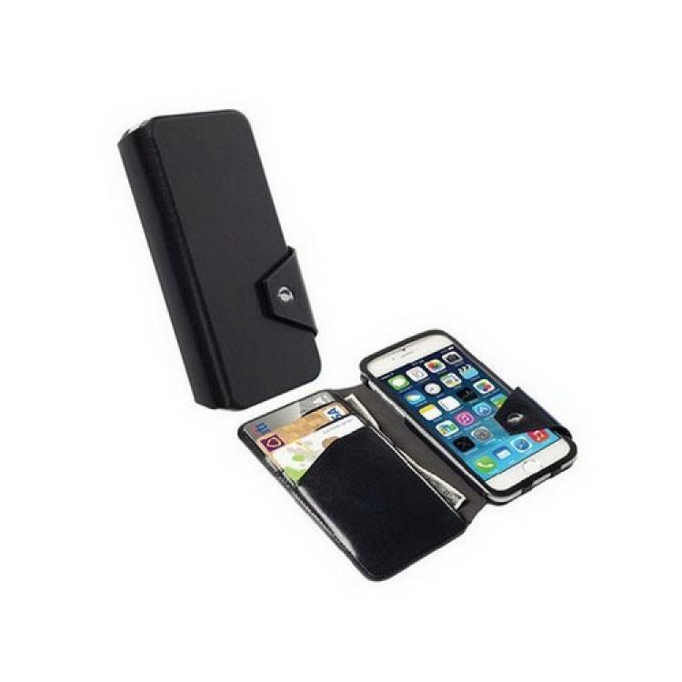 APPLE iPhone 6sKRUSELL FlipWallet KALMAR notesz  flip tok - álló, bőr, mágneses záródás, oldalra nyíló, bankkártya méretű tartó - FEKETE - 76019 - APPLE iPhone 6 - GYÁRI