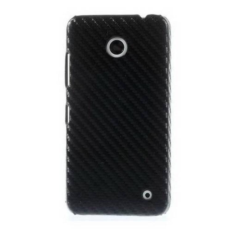 NOKIA Lumia 630 DUAL SIMMűanyag védő tok  hátlap - karbon mintás - FEKETE - NOKIA Lumia 630  NOKIA Lumia 635