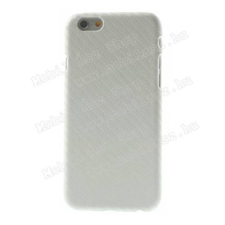 APPLE iPhone 6sMűanyag védő tok  hátlap - karbon mintás - FEHÉR - APPLE iPhone 6