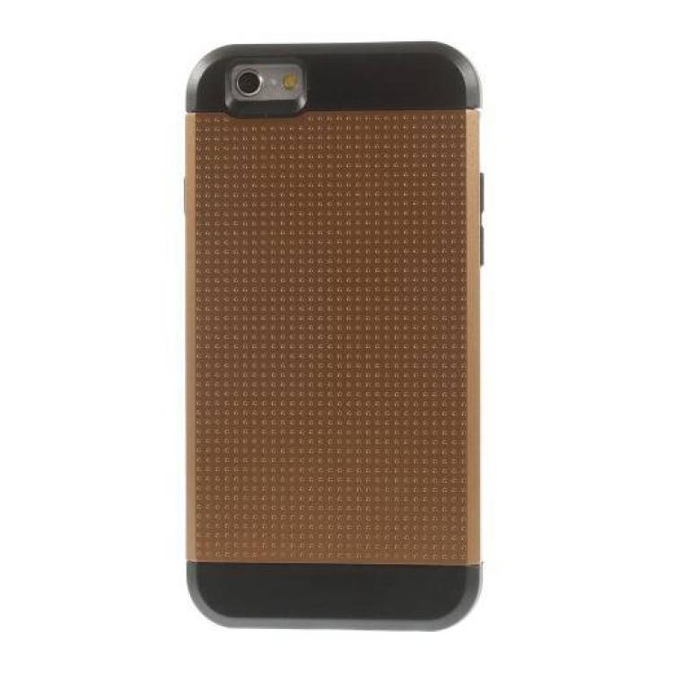 APPLE iPhone 6sDefender műanyag védő tok  hátlap - lyukacsos minta, szilikon betétes - ERŐS VÉDELEM! - BARNA  FEKETE - APPLE iPhone 6