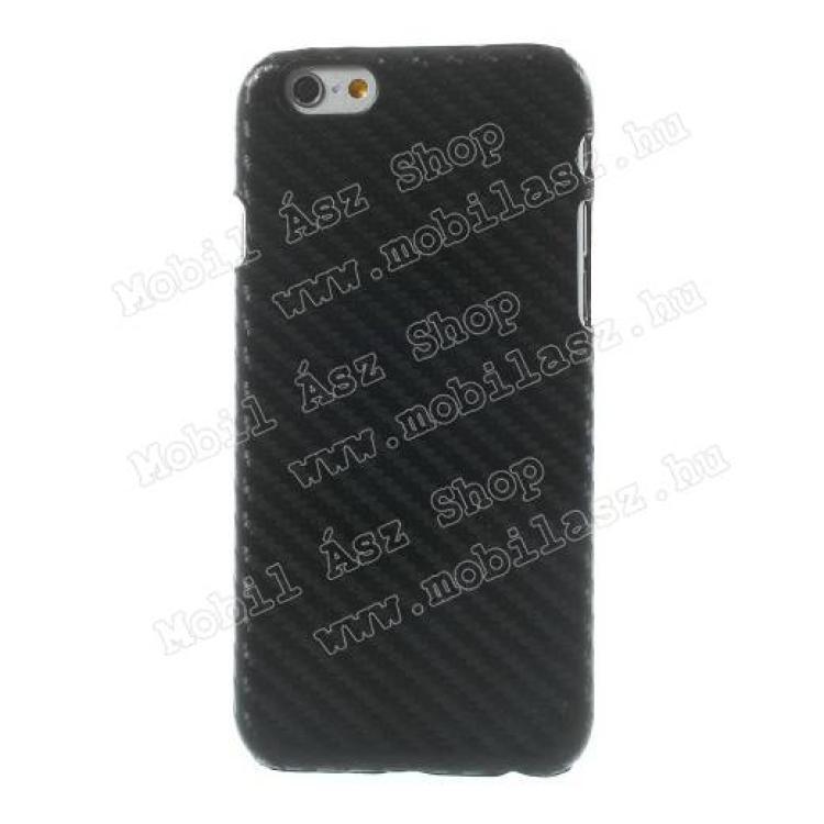 APPLE iPhone 6sMűanyag védő tok  hátlap - karbon mintás - FEKETE - APPLE iPhone 6