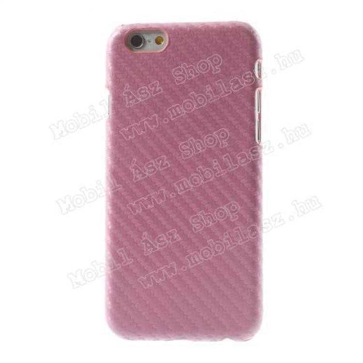 APPLE iPhone 6sMűanyag védő tok  hátlap - karbon mintás - RÓZSASZÍN - APPLE iPhone 6