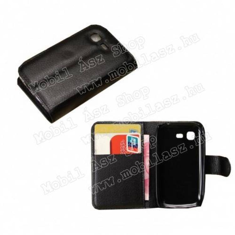 SAMSUNG Galaxy Pocket Neo DUOS (GT-S5312)Notesz tok  flip tok - asztali tartó funkciós, oldalra nyíló, rejtett mágneses záródás, bankkártya tartó zsebekkel - FEKETE - SAMSUNG GT-S5310 Galaxy Pocket Neo  SAMSUNG GT-S5312 Galaxy Pocket Neo DUOS