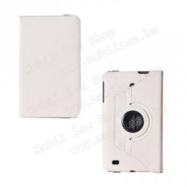 LG V490 G Pad 8.0 LTEMappa  notesz tok - oldalra nyíló flip cover, gumis záródás, asztali tartó funkcióval, 360°-ban elforgatható - FEHÉR - LG V480 G Pad 8.0
