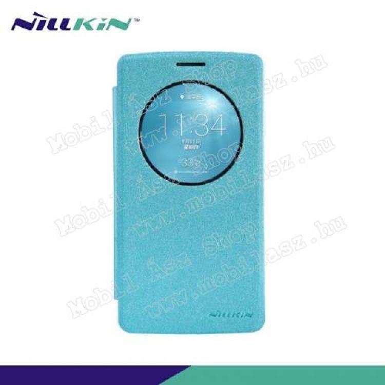 LG G3 SNILLKIN SPARKLE műanyag védő tok  hátlap - oldalra nyíló S-View Cover flip, hívószám kijelzés - VILÁGOSKÉK - LG G3 S