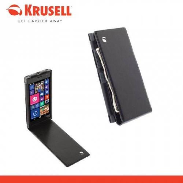 NOKIA Lumia 730 DUAL SIMKRUSELL WalletCase KALMAR FLIP tok - lefelé nyíló, álló, bőr, bankkártya tartó - 76030 - FEKETE - NOKIA Lumia 735 - GYÁRI
