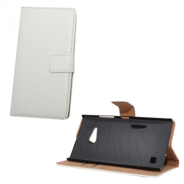 NOKIA Lumia 730 DUAL SIMNotesz tok  flip tok - oldalra nyíló, asztali tartó funkciós, rejtett mágneses záródás, bankkártya tartó zseb - FEHÉR - NOKIA Lumia 735