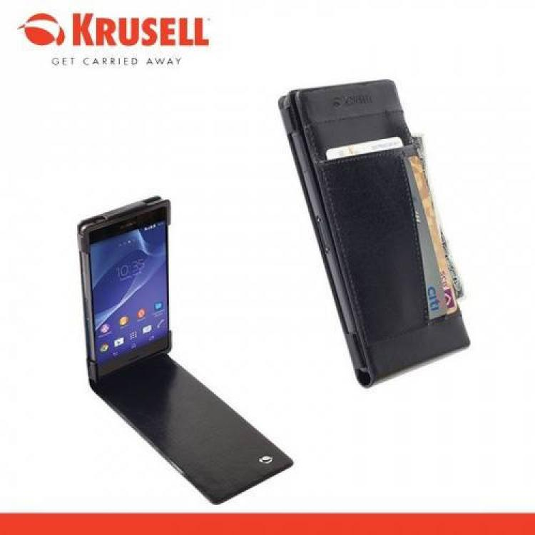 SONY Xperia Z3 (D6653)KRUSELL WalletCase KALMAR FLIP tok - lefelé nyíló, álló, bőr, bankkártya tartó - 76026 - FEKETE - SONY Xperia Z3 (D6653) - GYÁRI