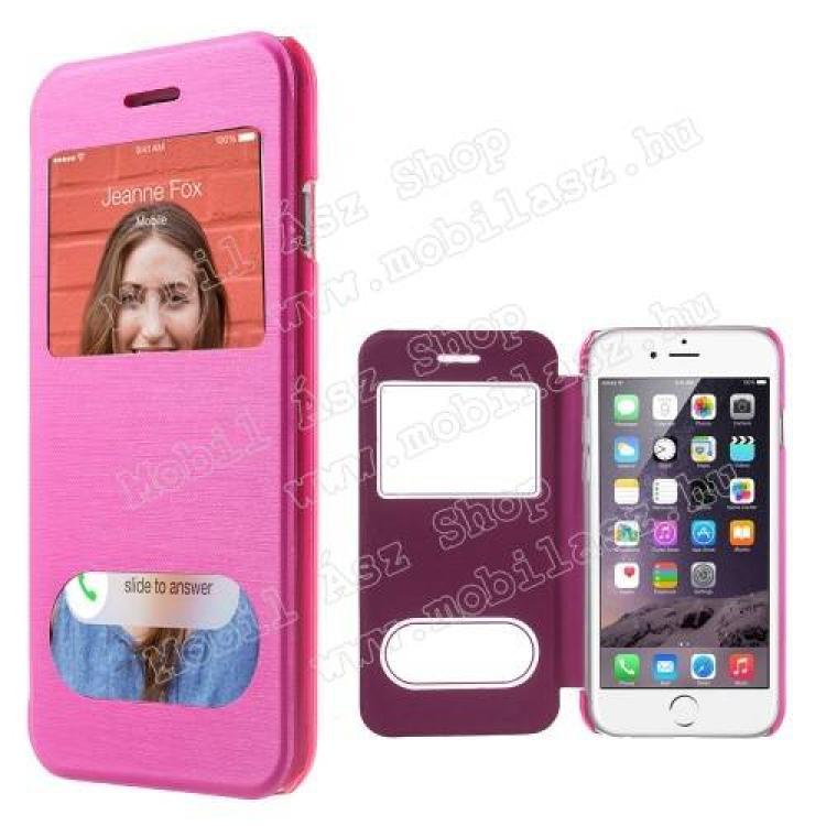 APPLE iPhone 6sSzilikon védő tok  átlátszó hátlap - oldalra nyíló S-View Cover flip, hívásfelvételhez és kijelzéshez kivágás - RÓZSASZÍN - APPLE iPhone 6