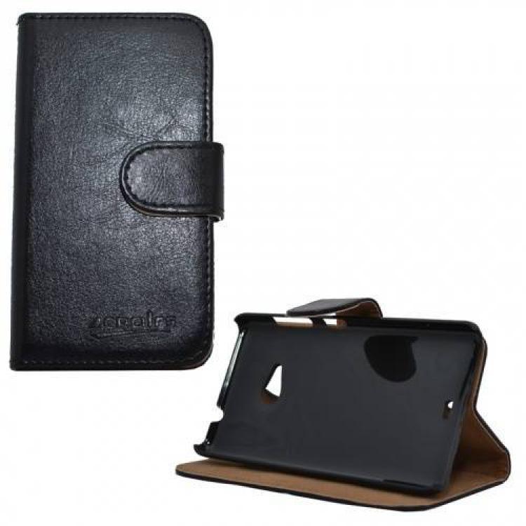 MICROSOFT Lumia 535Notesz tok flip tok - asztali tartó funkciós, oldalra nyíló, rejtett mágneses záródás, bankkártya tartó zsebekkel - FEKETE - MICROSOFT Lumia 535