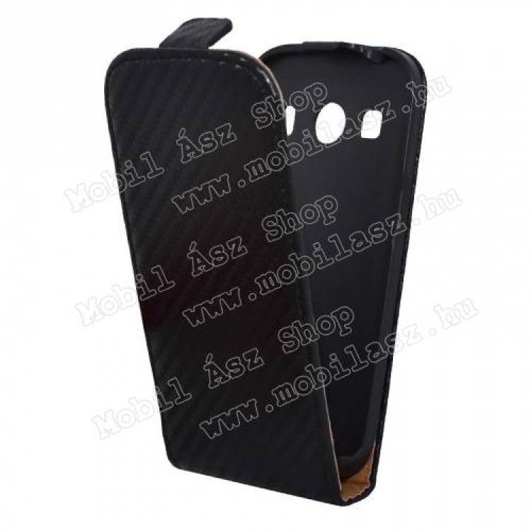 SAMSUNG Galaxy Ace 4 LTE (SM-G357FZ)SLIM FLIP tok - karbon minta, lefelé nyíló, rejtett mágneses záródás - FEKETE - SAMSUNG SM-G357FZ Galaxy Ace 4 LTE  SAMSUNG SM-G357FZ Galaxy Ace Style LTE