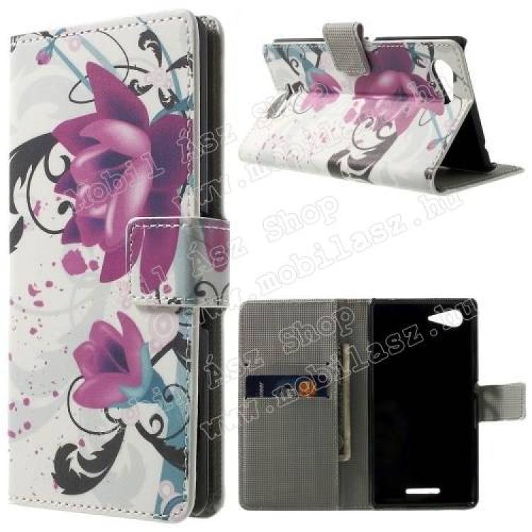 SONY Xperia E3 (D2203)Notesz tok flip tok - LÓTUSZVIRÁG MINTÁS - asztali tartó funkciós, oldalra nyíló, rejtett mágneses záródás, bankkártya tartó zsebekkel - FEHÉR - SONY Xperia E3 (D2203)
