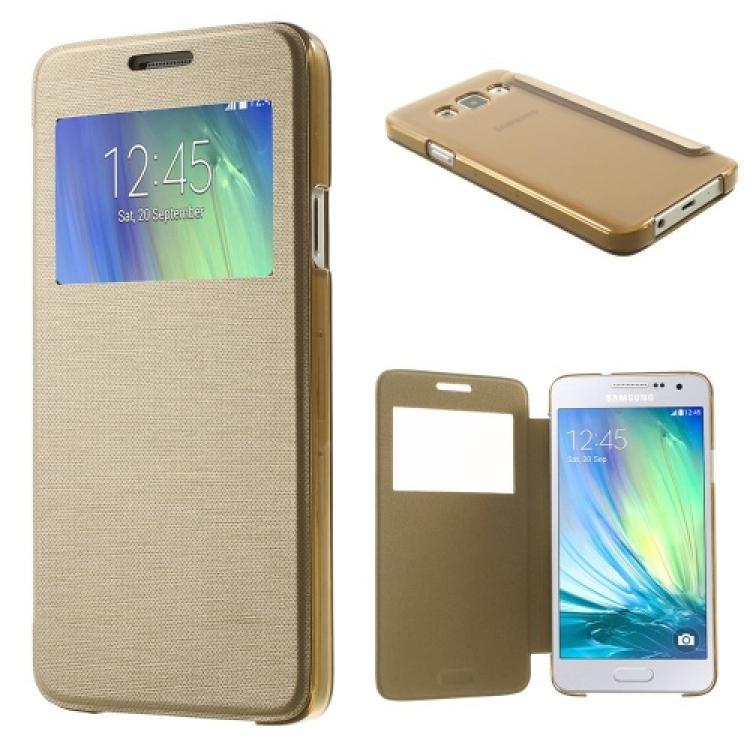 SAMSUNG Galaxy A3 DUOS (SM-A300F/DS)Műanyag védő tok  hátlap - oldalra nyíló flip cover, hívószámkijelzésnek kivágás - ARANY - SAMSUNG SM-A300F Galaxy A3