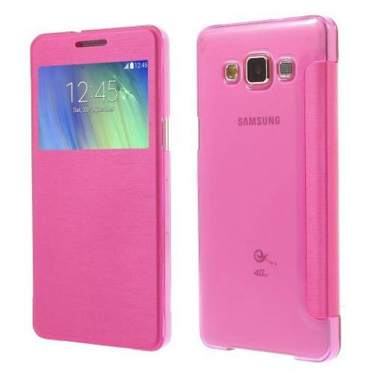 SAMSUNG Galaxy A5 DUOS (SM-A500F/DS)Műanyag védő tok  hátlap - oldalra nyíló flip cover, hívószámkijelzésnek kivágás - RÓZSASZÍN - SAMSUNG SM-A500F Galaxy A5