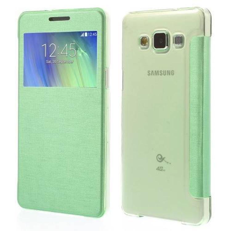SAMSUNG Galaxy A5 DUOS (SM-A500F/DS)Műanyag védő tok  hátlap - oldalra nyíló flip cover, hívószámkijelzésnek kivágás - ZÖLD - SAMSUNG SM-A500F Galaxy A5