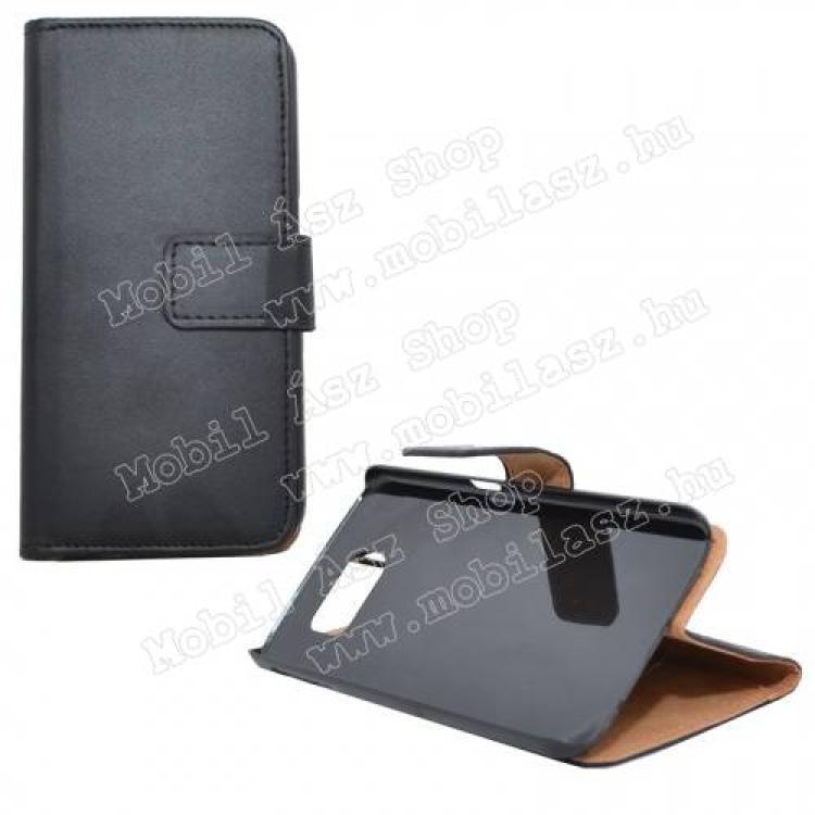 SAMSUNG Galaxy S6 (SM-G920)WALLET notesz tok flip tok - asztali tartó funkciós, oldalra nyíló, rejtett mágneses záródás - FEKETE - SAMSUNG SM-G920 Galaxy S6