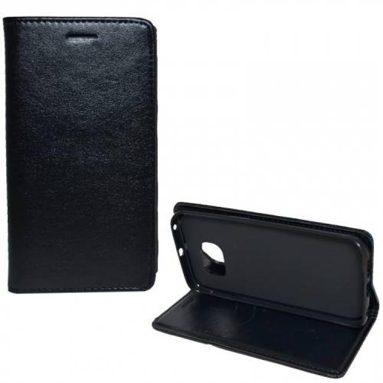 SAMSUNG Galaxy S6 Edge (SM-G925F)Notesz tok flip tok - asztali tartó funkciós, oldalra nyíló - FEKETE - SAMSUNG SM-G925F Galaxy S6 Edge