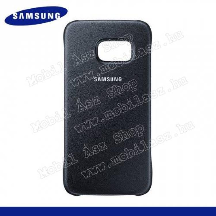 SAMSUNG Galaxy S6 (SM-G920)SAMSUNG EF-YG920BBEGWW műanyag védő tok  hátlap - bőrhatású - FEKETE - SAMSUNG SM-G920 Galaxy S6 - GYÁRI