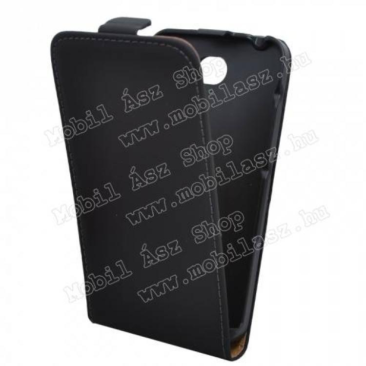 SONY Xperia E4 DualFlip tok - lefelé nyíló, rejtett mágneses záródás - FEKETE - SONY Xperia E4 (E2105)  SONY Xperia E4 Dual