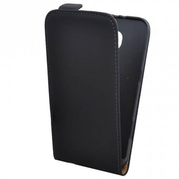 SAMSUNG Galaxy S6 (SM-G920)Flip tok - lefelé nyíló, rejtett mágneses záródás - FEKETE - SAMSUNG SM-G920 Galaxy S6