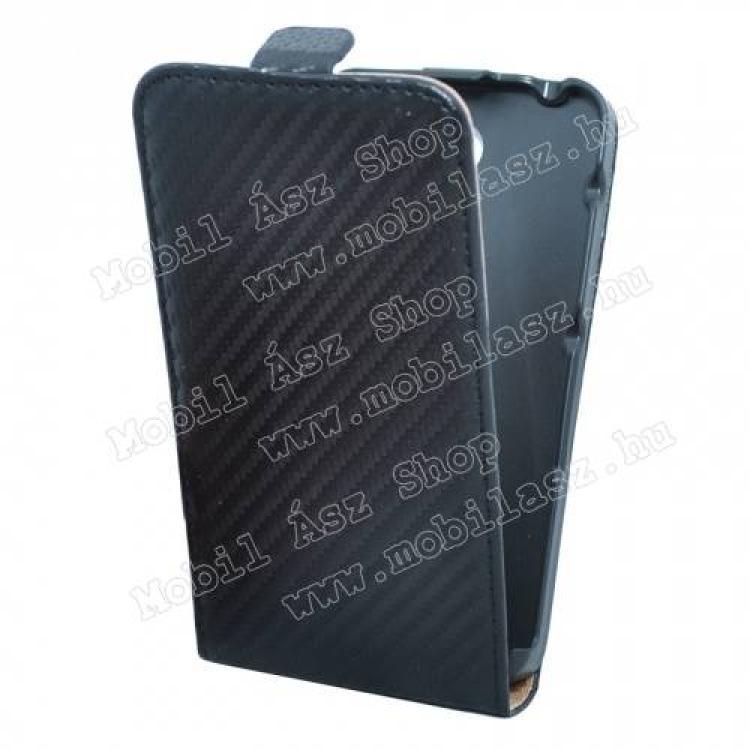 SONY Xperia E4 DualFlip tok - lefelé nyíló, rejtett mágneses záródás - KARBON MINTÁS - FEKETE - SONY Xperia E4 (E2105)  SONY Xperia E4 Dual