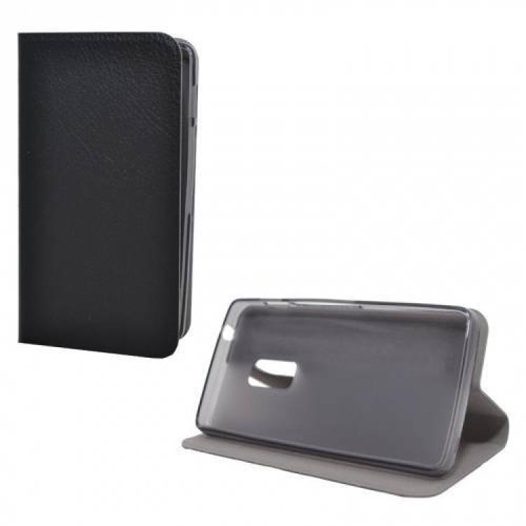 ACER Liquid Z205Notesz  flip tok - oldalra nyíló flip cover, asztali tartó funkció, szilikon belső - FEKETE - ACER Liquid Z200