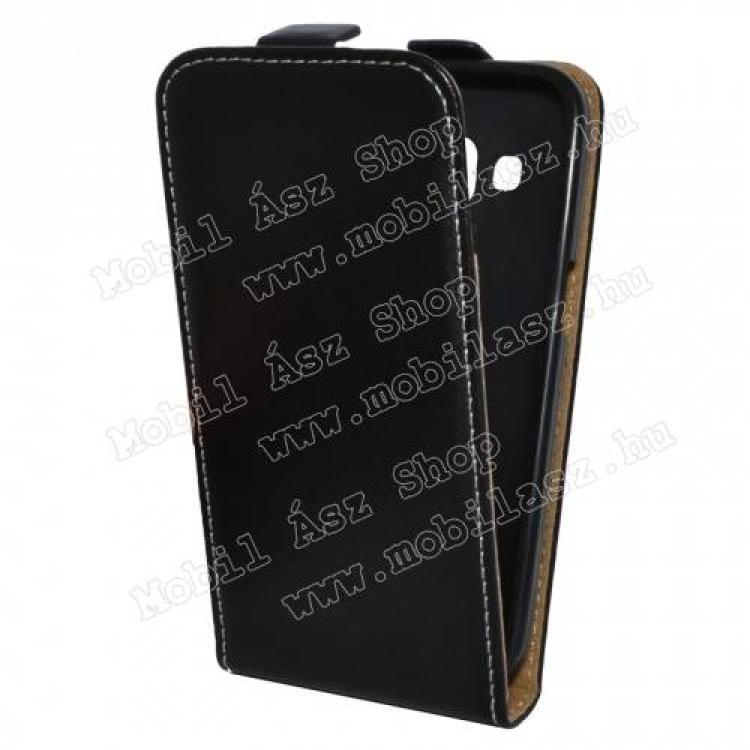 SAMSUNG Galaxy Core Prime (SM-G360F)SLIM FLIP tok - lefelé nyíló, rejtett mágneses záródás, szilikon belső - FEKETE - SAMSUNG SM-G360F Galaxy Core Prime