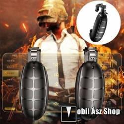BASEUS Kontroller / Joystick - GRÁNÁT FORMÁJÚ - ravasz PUBG, STG, FPS, TPS lövöldözős játékokhoz, max 83mm széles készülékekkel kompatibilis - FEKETE - GYÁRI