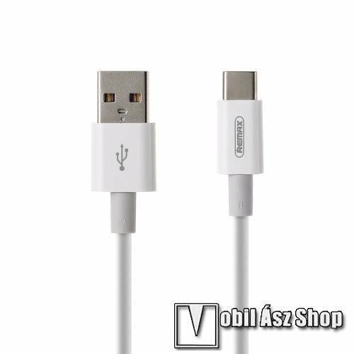 REMAX adatátviteli kábel / USB töltő - USB 3.1 Type C, 1m hosszú, 5A, törésgátló, gyorstöltés támogatás - FEHÉR - GYÁRI