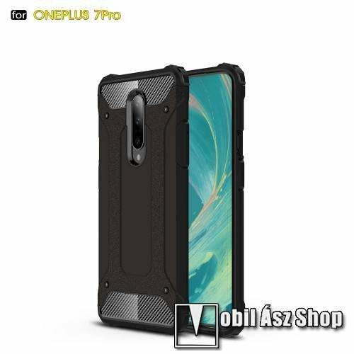 OTT! MAX DEFENDER műanyag védő tok / hátlap - FEKETE - szilikon belső, ERŐS VÉDELEM! - OnePlus 7 Pro / OnePlus 7 Pro 5G