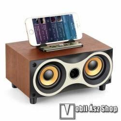 Hordozható bluetooth hangszóró / telefon tartó állvány - beépített mikrofon, 8W, 75dB, beépített 2000mAh akkumulátor, 3.5mm AUX, USB, kihangosító funkció, FM rádió, memóriakártya olvasás - BARNA - 234 x 156 x 128mm
