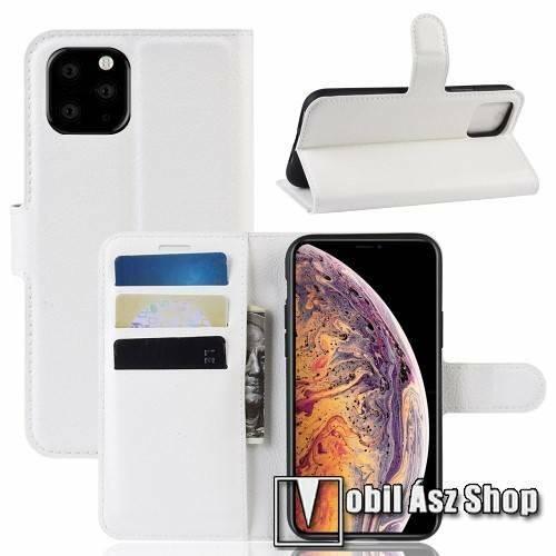 WALLET notesz tok / flip tok - FEHÉR - asztali tartó funkciós, oldalra nyíló, rejtett mágneses záródás, bankkártyatartó zseb, szilikon belső - APPLE iPhone 11 Pro Max