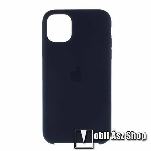 Szilikon védő tok / hátlap - mikroszálas szövettel bevont belsővel - SÖTÉTKÉK - APPLE iPhone 11 Pro