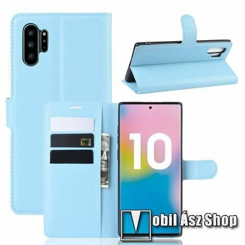 WALLET notesz tok / flip tok - VILÁGOSKÉK - asztali tartó funkciós, oldalra nyíló, rejtett mágneses záródás, bankkártyatartó zseb, szilikon belső - SAMSUNG Galaxy Note10 Plus (SM-N975F) / SAMSUNG Galaxy Note10 Plus 5G (SM-N976F)