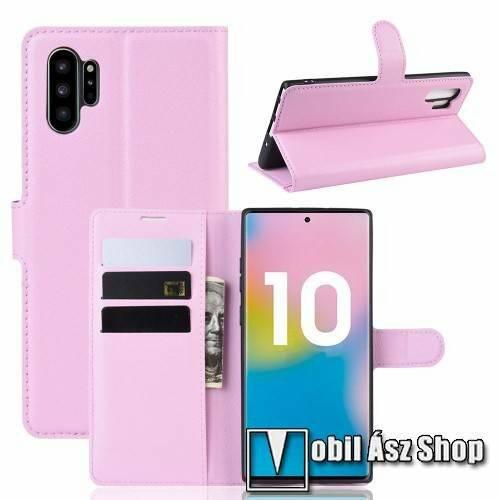 WALLET notesz tok / flip tok - RÓZSASZÍN - asztali tartó funkciós, oldalra nyíló, rejtett mágneses záródás, bankkártyatartó zseb, szilikon belső - SAMSUNG Galaxy Note10 Plus (SM-N975F) / SAMSUNG Galaxy Note10 Plus 5G (SM-N976F)