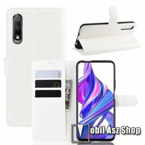 WALLET notesz tok / flip tok - FEHÉR - asztali tartó funkciós, oldalra nyíló, rejtett mágneses záródás, bankkártyatartó zseb, szilikon belső - HUAWEI P smart Pro (2019) / HUAWEI Y9s / HUAWEI Honor 9X (For China market) / HUAWEI Honor 9X Pro (For China)