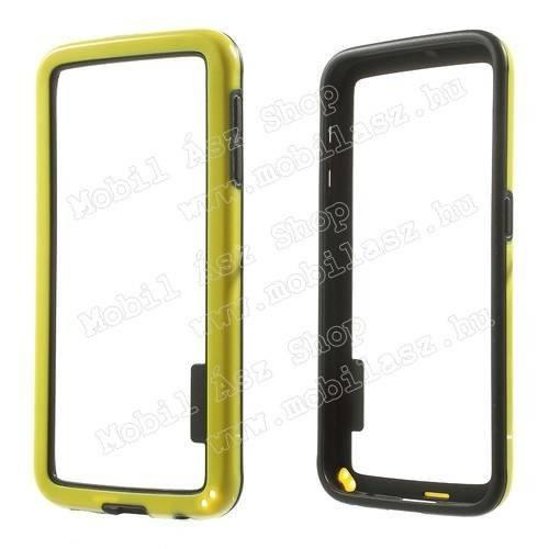 Szilikon védő keret - BUMPER - SÁRGA / FEKETE - SAMSUNG SM-G920 Galaxy S6